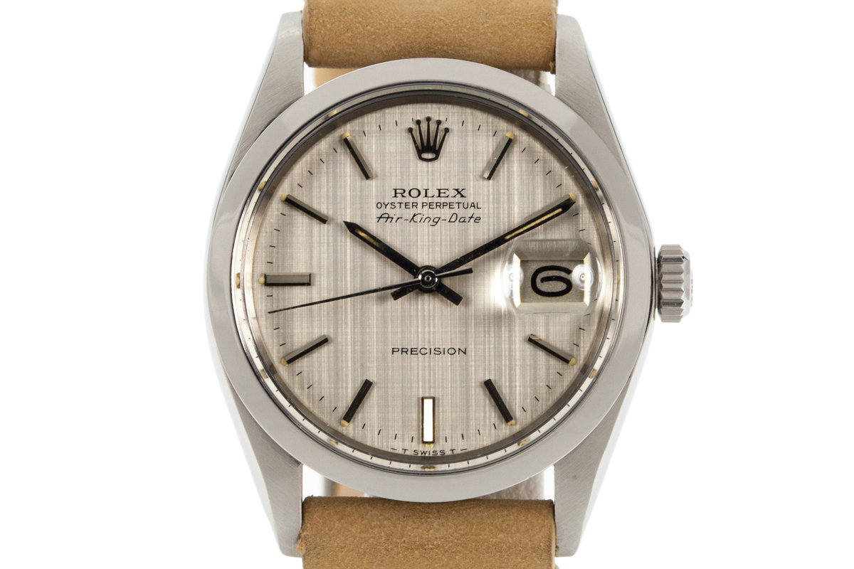 1971 Rolex Air King Date 5700 Silver Linen Dial photo, #0