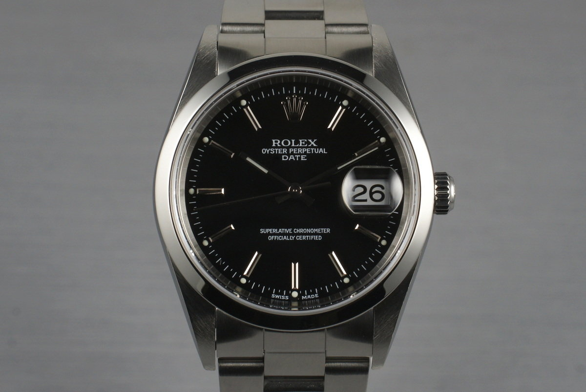 2003 Rolex Date 15200 Black Dial with Papers photo, #0
