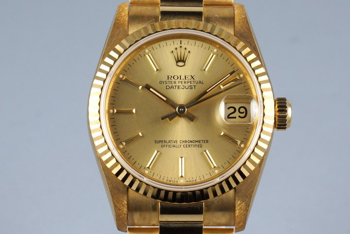 1991 Rolex YG MidSize Datejust 68278 with Box and Papers photo