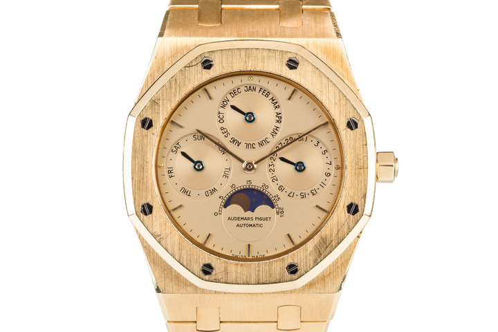 Audemars Piguet 18k YG Royal Oak Perpetual Calendar with Moonphase 25654BA photo