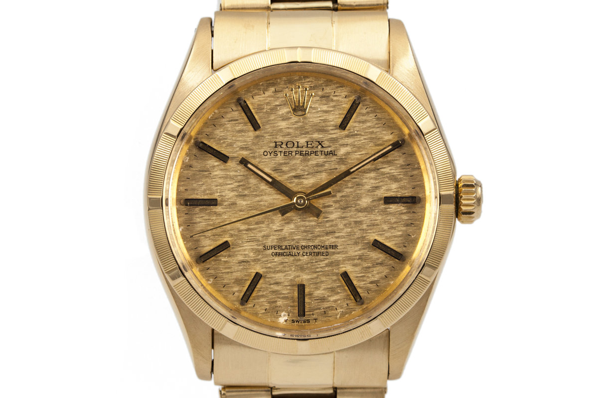 1971 Rolex Yellow Gold Oyster Perpetual 1005 Gold Mosaic Dial photo, #0