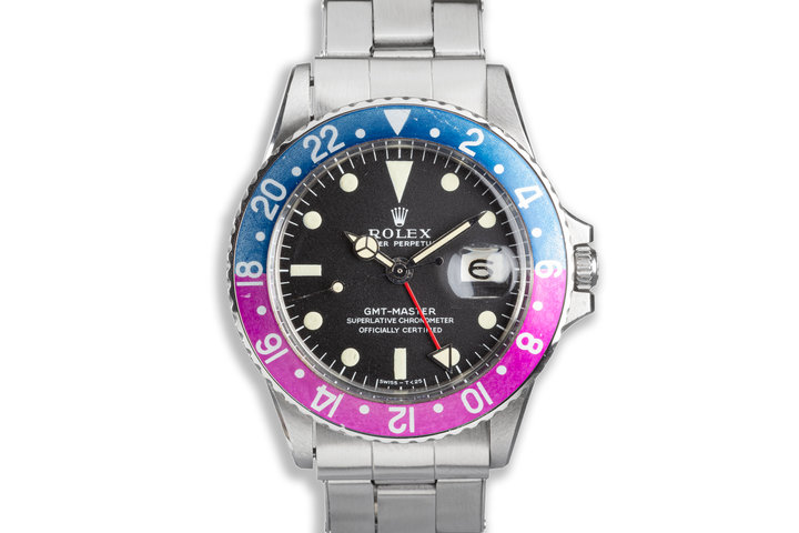 """1968 Vintage Rolex GMT-Master """"Fuchsia"""" 1675 Matte Dial Box and Papers photo"""