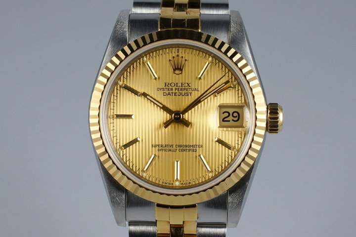 1997 Rolex MidSize Two Tone Datejust 68273 with Champagne Tapestry Dial photo