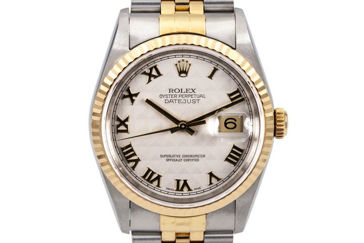 2000 Rolex Two Tone DateJust 16233 White Pyramid Dial photo
