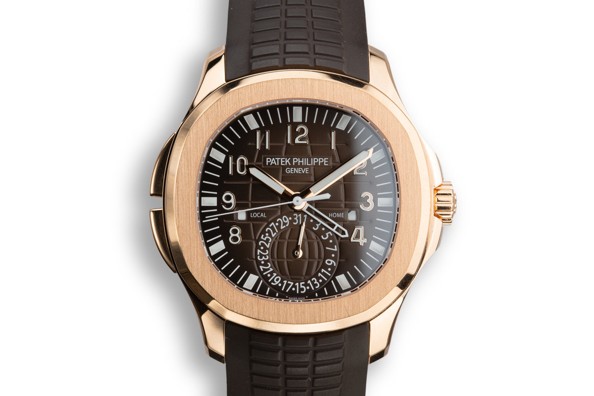 Hq Milton 2018 Patek Philipe 18k Rose Gold Aquanaut Travel Time