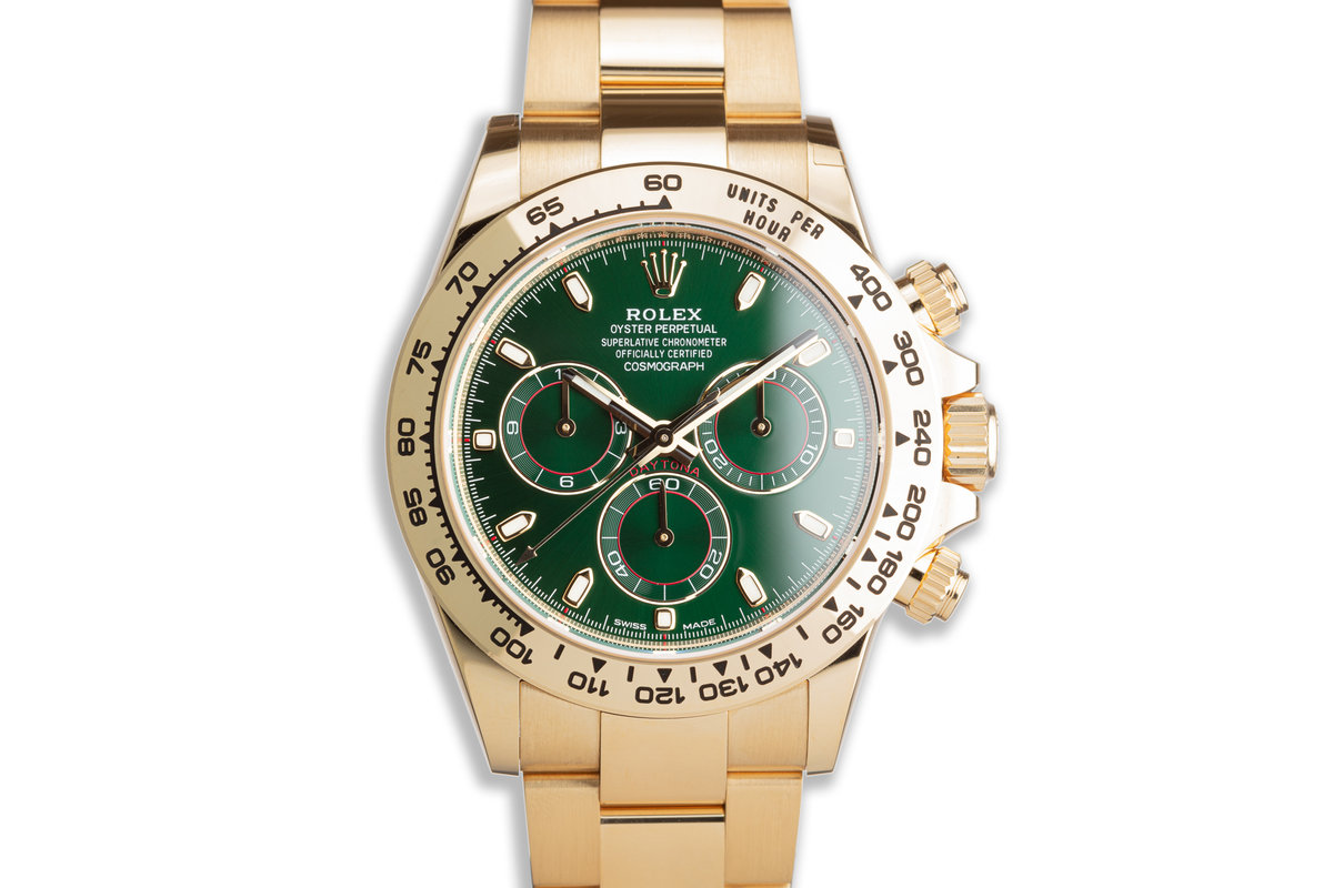 2020 Rolex 18K YG Daytona 116508 Green Dial with Box & Papers photo, #0