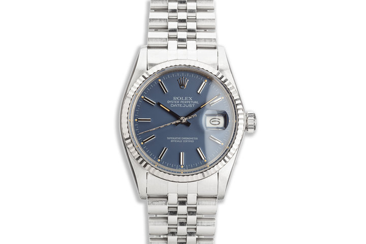 1984 Vintage Rolex DateJust 16014 with Blue Dial and Service Papers photo