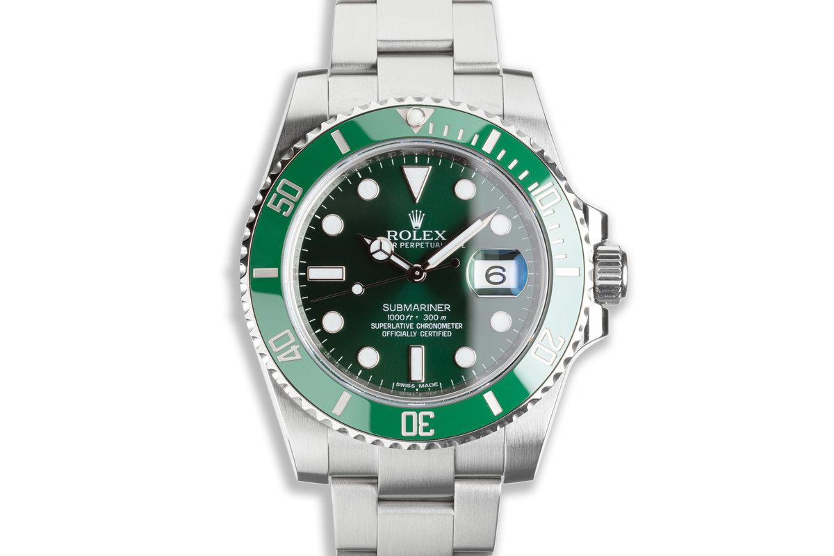 "2012 Unpolished Rolex Green Submariner 116610LV ""Hulk"" with Box & Card photo, #0"