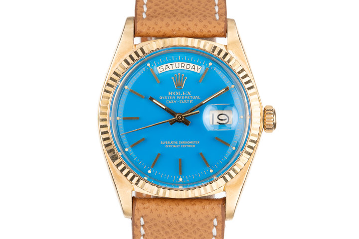 1972 Rolex 18K YG Day-Date 1803 with Blue Stella Dial photo