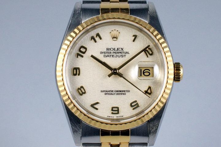 2000 Rolex Two Tone DateJust 16233 Cream Jubilee Arabic Dial photo