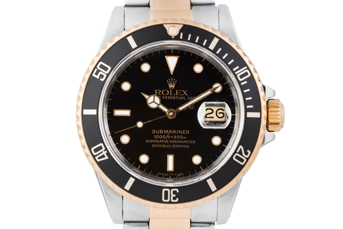 1985 Rolex Two Tone Submariner 16803 Black Dial with Box and Papers photo, #0