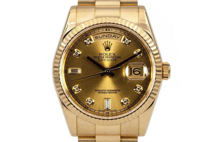 2005 Rolex YG Day-Date 118238 with Diamonds photo