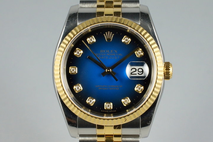 2004 Rolex Two Tone DateJust 116233 Factory Blue Vignette Diamond Dial with Box and Papers photo
