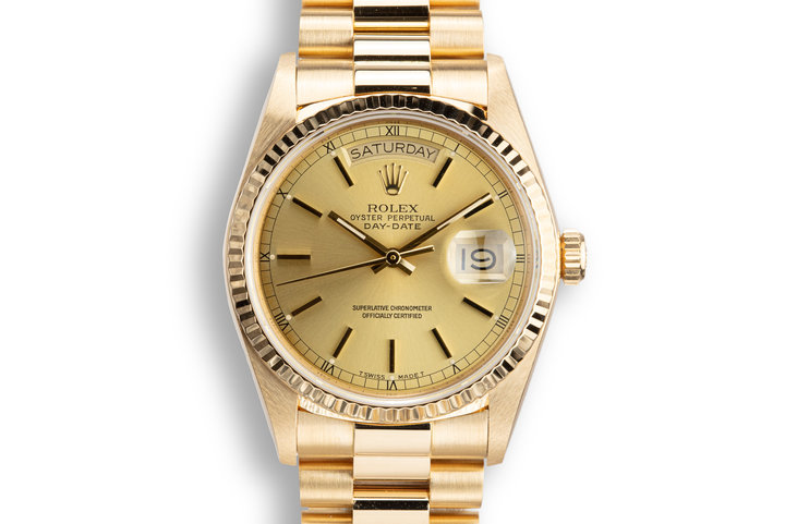 1987 Rolex 18K Day-Date 18038 Champagne Dial with Box, Papers, and Service Papers photo
