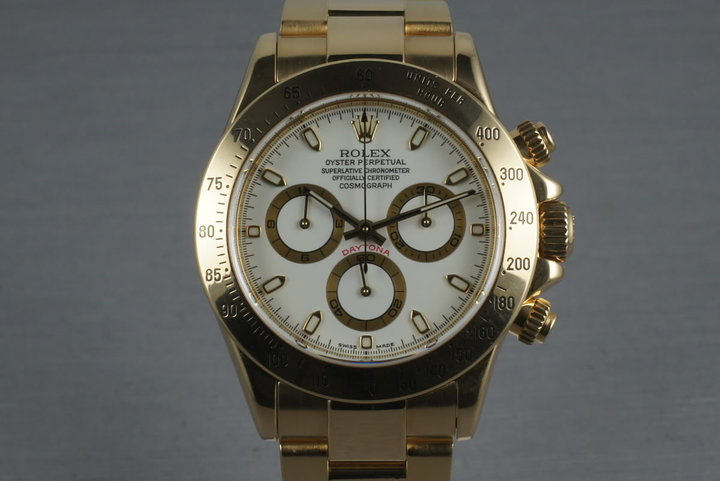 Rolex 18K Daytona 116528 with White Dial and Box and Papers photo