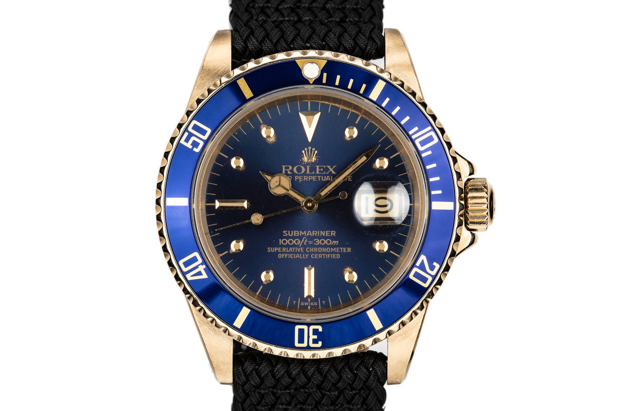 1980 Rolex 18K YG Submariner 16808 with Blue Nipple Dial photo, #0
