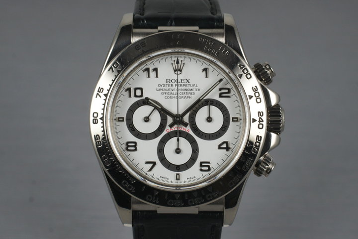 1999 Rolex WG Zenith Daytona 16519 White Arabic Dial with Box and Papers photo