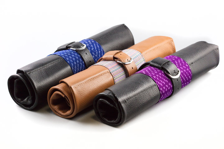 Hand Made Artisan Textile and Leather Watch Rolls photo