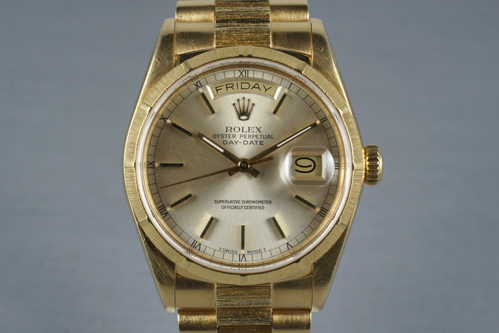 1987 Rolex 18K Bark Day-Date 18078 Silver Dial photo