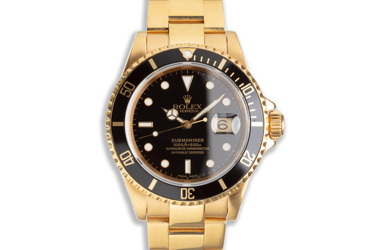 1991 Rolex 18K YG Submariner 16618 Black Dial with Box & Booklets photo, #0