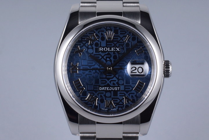 2005 Rolex DateJust 116200 Blue Jubilee Roman Dial with Box and Papers photo