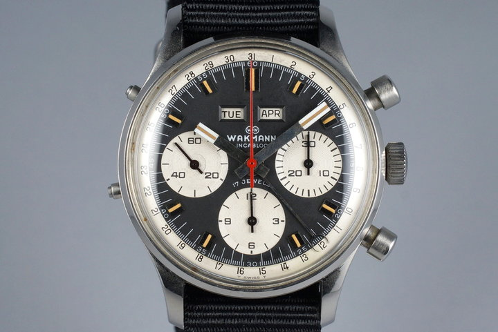 1960's Wakmann Incabloc Triple Date Chronograph 71.1309.70 photo