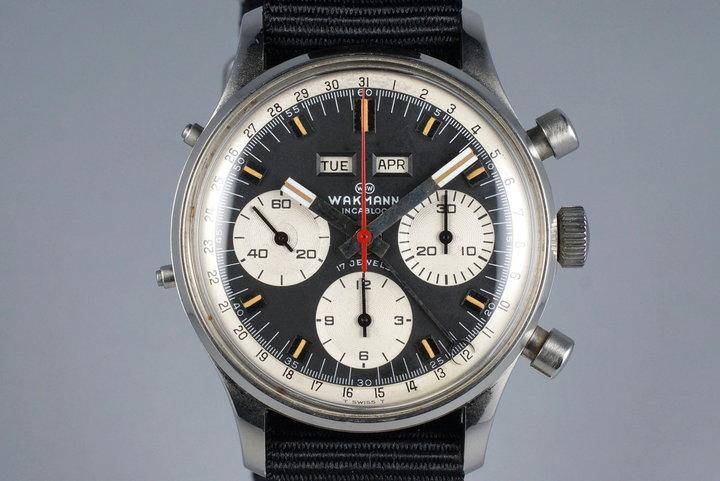 1960's Wakmann Incabloc Triple Date Chronograph 71.1309.70 photo
