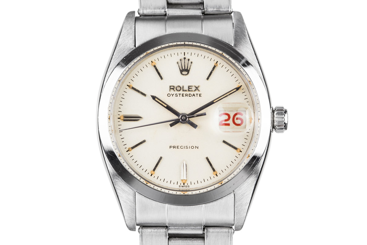 1957 Rolex OysterDate 6494 White SWISS Only Dial with Roulette Date Wheel photo, #0