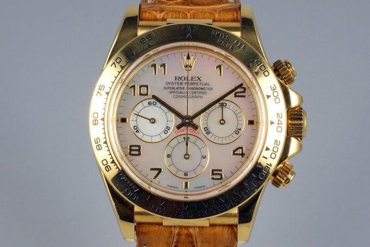 1999 Rolex YG Zenith Daytona 16518 Mother of Pearl Dial photo