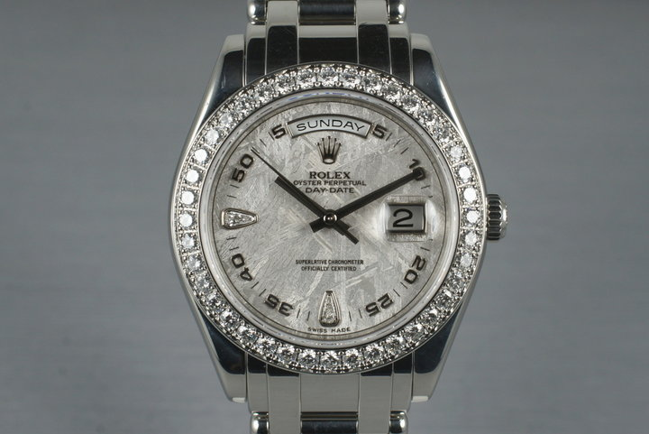 2006 Rolex Platinum Masterpiece Day-Date 18946 Meteorite Diamond Dial with Box and Papers photo