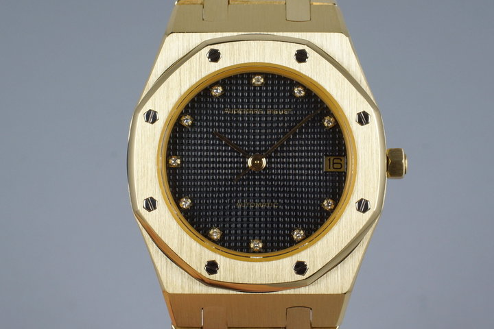 Vintage YG Audemars Piguet Royal Oak with Factory Diamond Dial with Box photo