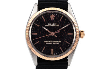 1964 Rolex Rose Gold and Stainless Steel Oyster Perpetual 1005 Black Gilt Dial photo