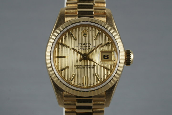 1984 Rolex 18K Ladies DateJust President 69178 with Tapestry Dial photo