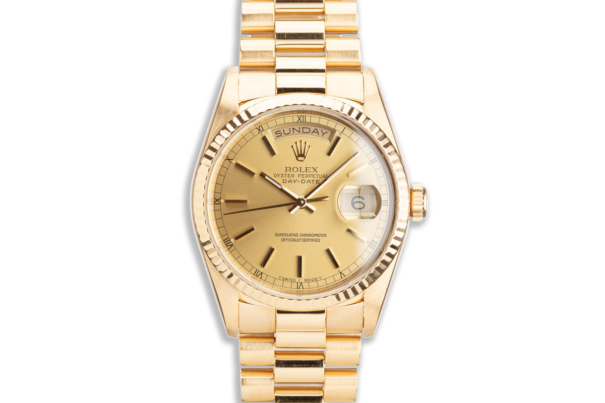 1991 Rolex YG Day-Date 18238 Gold Dial photo, #0