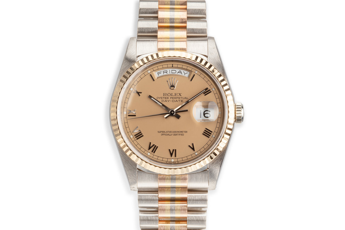 1991 Rolex Day-Date 18239B Tridor President with Salmon Roman Dial Box and Papers photo, #0