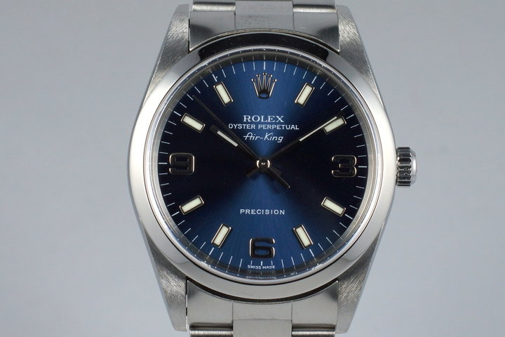2000 Rolex Air-King 14000 Blue 3/6/9 Dial photo