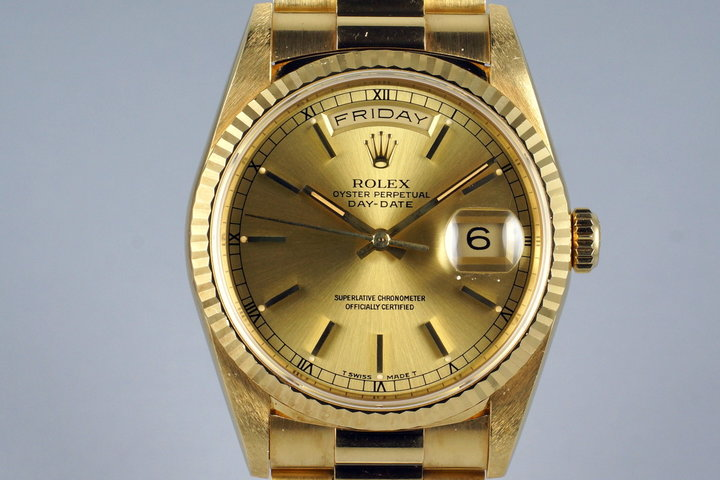 1991 Rolex YG Day-Date 18238 Champagne Dial with Box and Papers photo