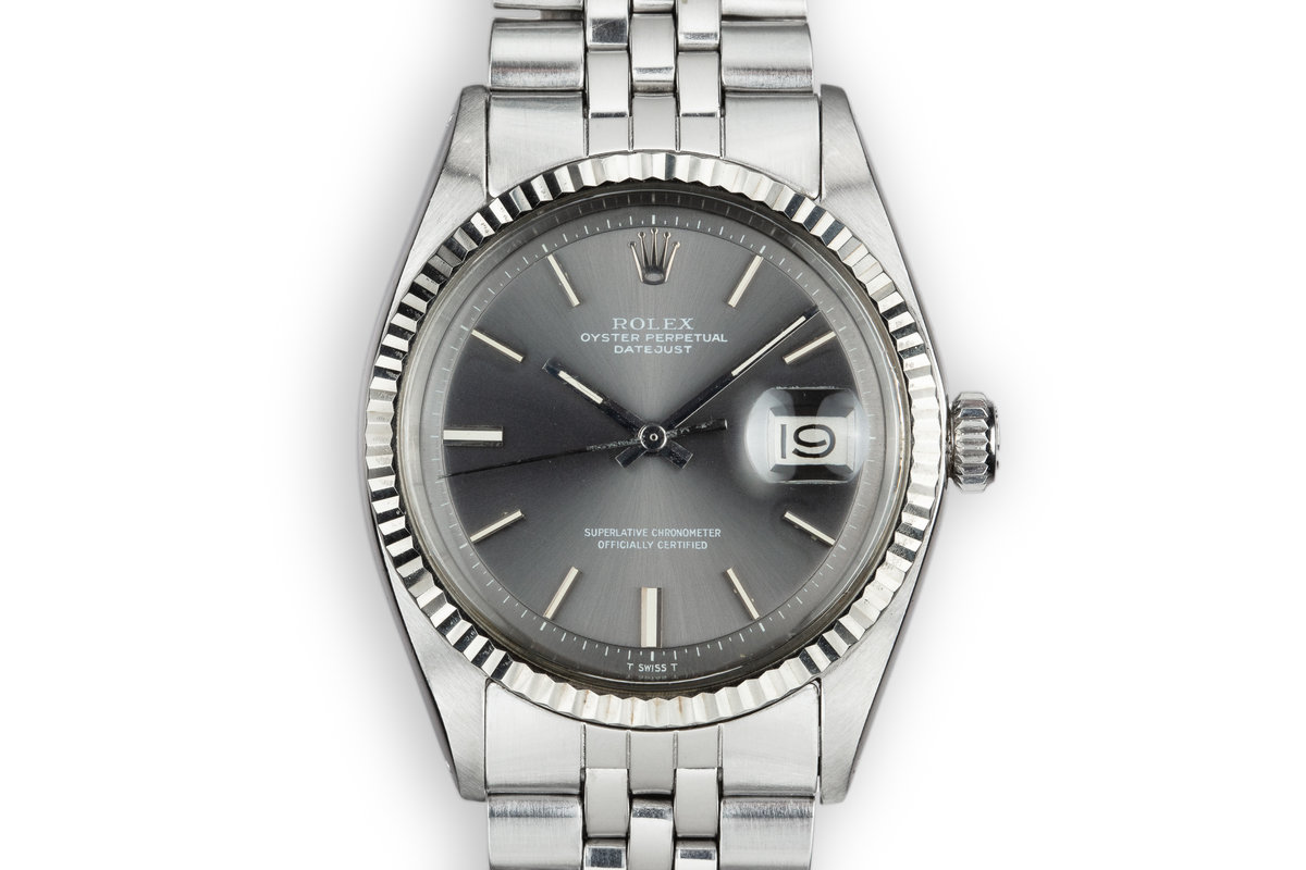 1972 Rolex DateJust 1601 No Lume Grey Dial with Box and Double Punched Papers photo, #0