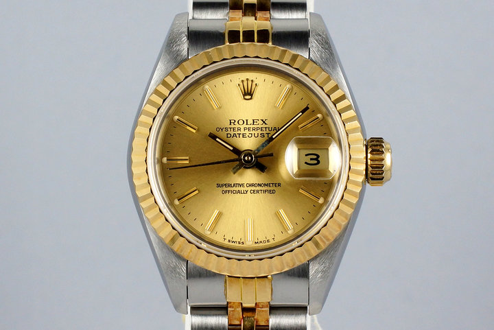 1987 Rolex Ladies Two Tone DateJust 69173 Champagne Dial with Box and Papers photo