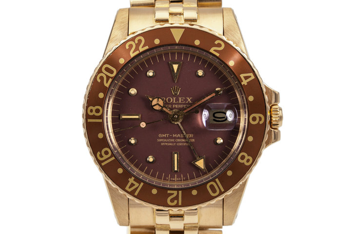 1979 Rolex 18K YG GMT 1675 Brown Dial photo