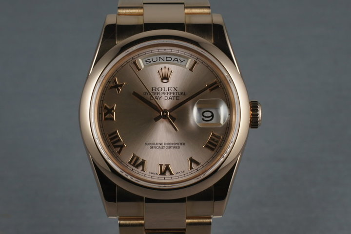 2000 President Rose Gold 118205 smooth bezel Oyster bracelet photo