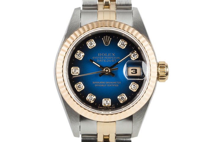 1997 Rolex Ladie Two Tone DayDate 69173 with Factory Blue Vignette Diamond Dial photo