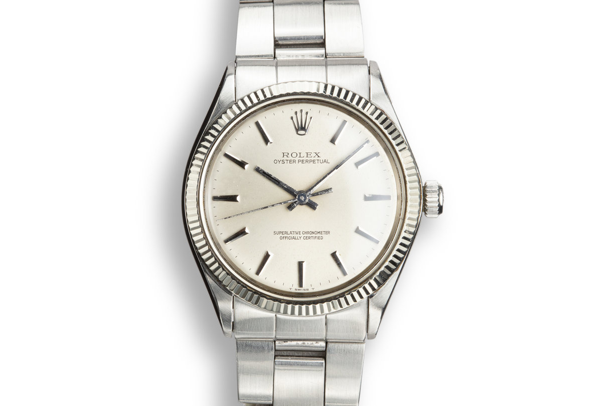 1972 Rolex Oyster Perpetual 1005 Silver No Lume Dial photo, #0