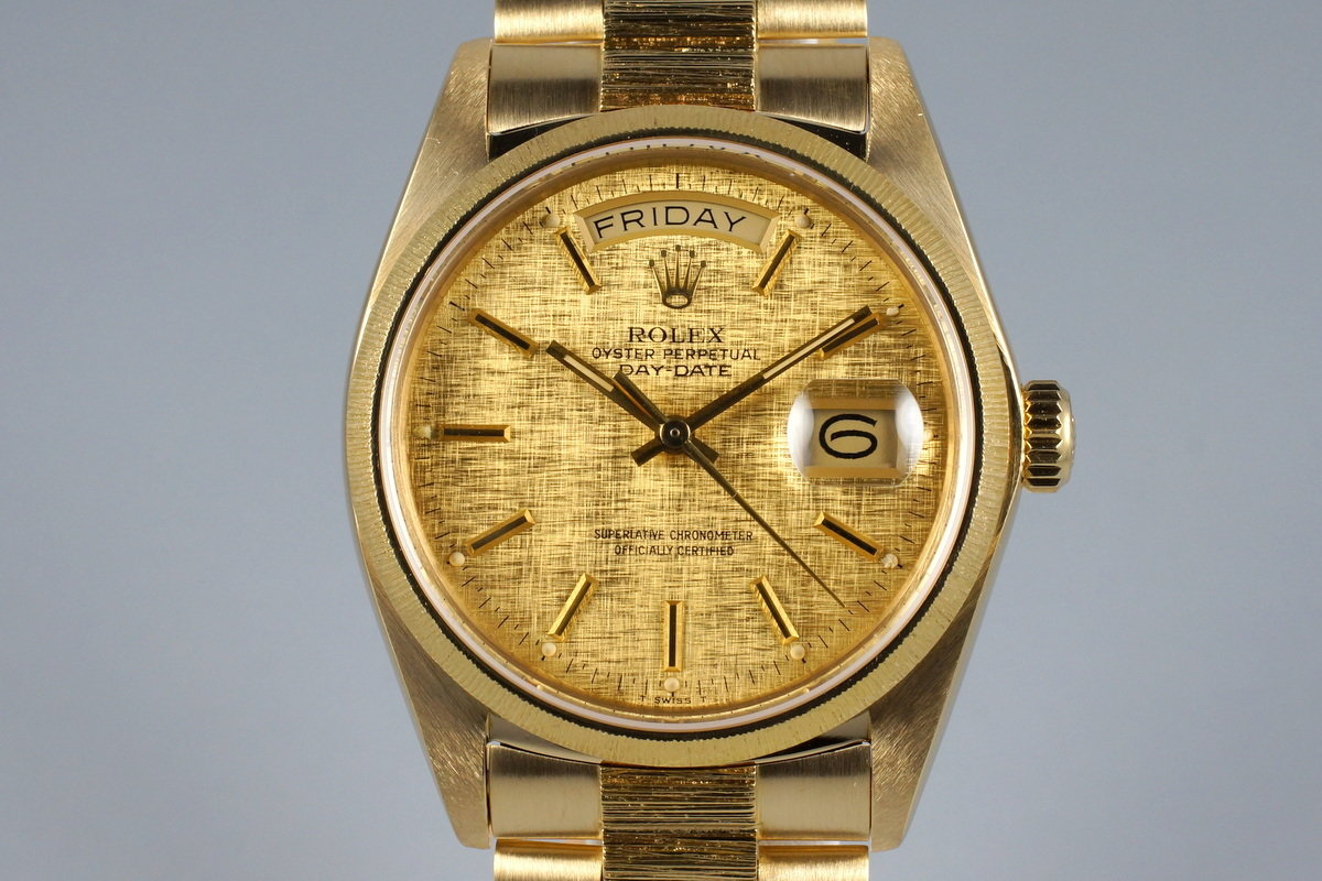 1982 Rolex YG Bark Day Date 18078 Champagne Linen Dial photo, #0