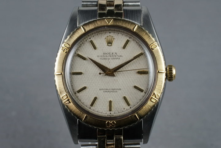 1954 Rolex Turn-O-Graph 18K/SS 6202 with White Waffle Dial photo