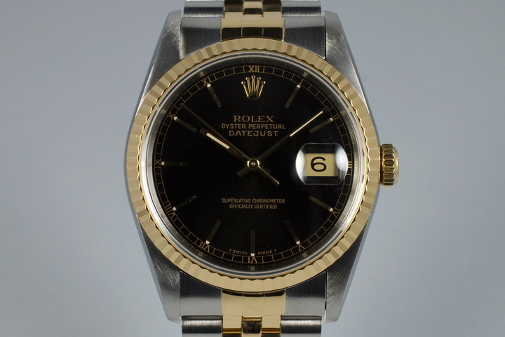 1991 Rolex Two Tone DateJust 16233 Glossy Black Dial photo