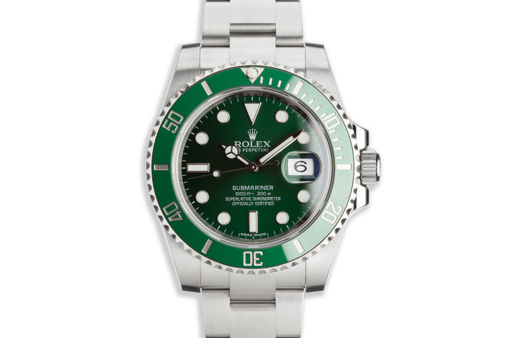 """2015 Rolex Green Submariner 116610LV """"Hulk"""" with Box and Card photo"""