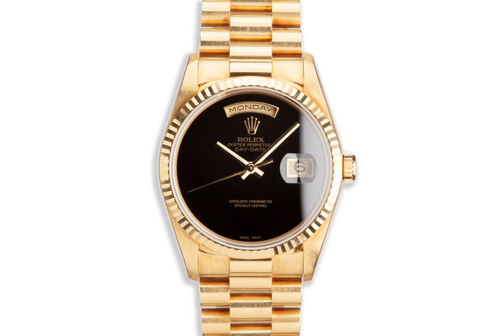 1995 Rolex 18K YG Day-Date 18238 Onyx Dial photo
