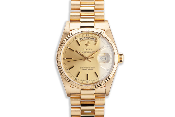 1987 Rolex 18K YG Day-Date 18038 Champagne Dial with Papers photo