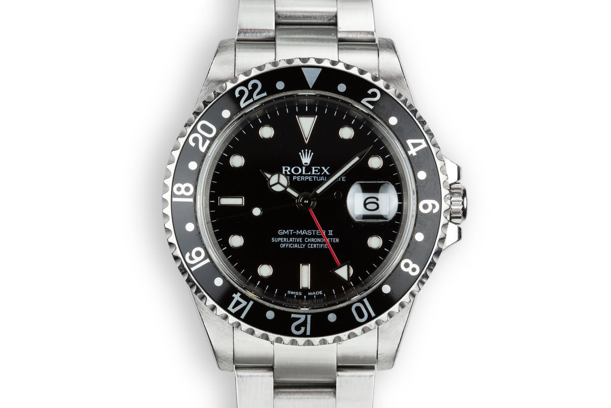 1999 Rolex GMT-Master II 16710 Black Bezel with Box and Papers photo, #0
